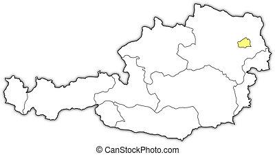 ausztria bécs térkép Kijelölt, térkép, ausztria, bécs. Térkép, politikai, egyesült  ausztria bécs térkép