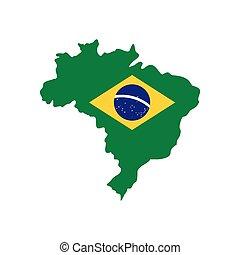 térkép, közül, brazília, noha, a, kép, közül, a, nemzeti lobogó