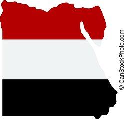 térkép, közül, egyiptom, alatt, egyptian lobogó, befest, ikon, elszigetelt