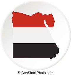 térkép, közül, egyiptom, alatt, egyptian lobogó, befest, ikon, karika