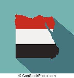 térkép, közül, egyiptom, alatt, egyptian lobogó, befest, ikon