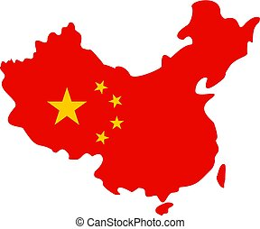 térkép, közül, kína, alatt, nemzeti lobogó, befest, ikon, elszigetelt