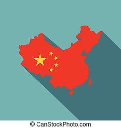 térkép, közül, kína, alatt, nemzeti lobogó, befest, ikon