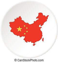 térkép, közül, kína, alatt, nemzeti lobogó, befest, ikon, karika