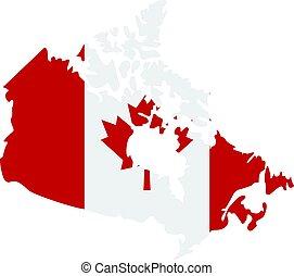 térkép, közül, kanada, alatt, nemzeti lobogó, befest, ikon