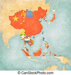 térkép, közül, kelet asia, -, minden, országok