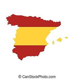 térkép, közül, spanyolország, alatt, spanish lobogó, befest, ikon