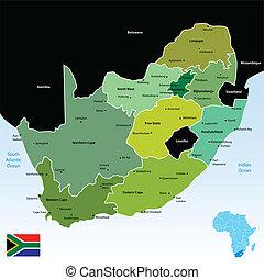 térkép, köztársaság, afrika, déli