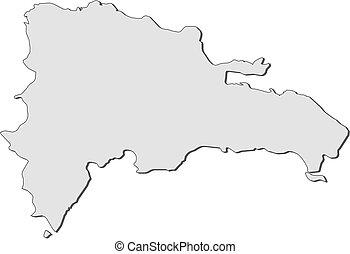 térkép, -, köztársaság, dominikai