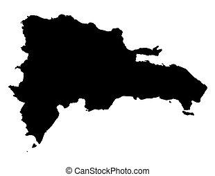 térkép, köztársaság, dominikai, fekete