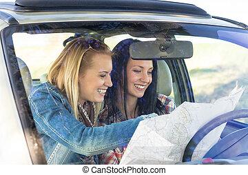 térkép, keres, elveszett, autó út, út, nők