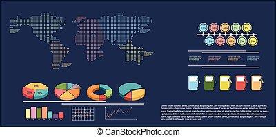 térkép, kiállítás, infographics