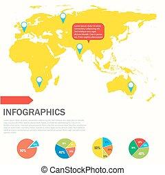 térkép, kiállítás, sárga, infographics