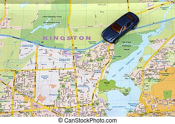 térkép, kingston