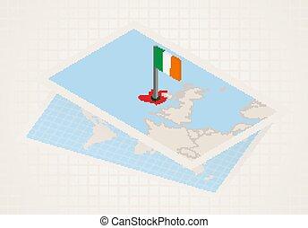 térkép, kiválasztott, írország, ireland., isometric, lobogó