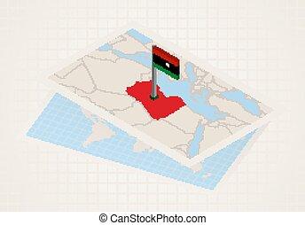 térkép, kiválasztott, 3, lobogó, líbia, libya.