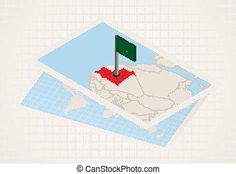 térkép, kiválasztott, 3, lobogó, mauritania., mauritánia