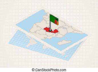 térkép, kiválasztott, 3, lobogó, zambia., zambia
