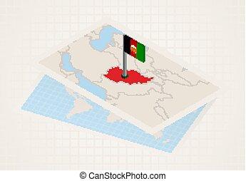 térkép, kiválasztott, afghanistan., isometric, lobogó, ...