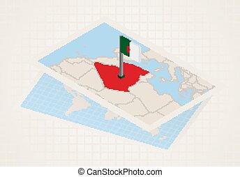térkép, kiválasztott, algéria, 3, algeria., lobogó