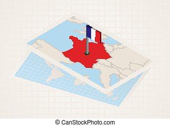 térkép, kiválasztott, franciaország, france., isometric, ...