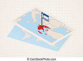 térkép, kiválasztott, greece., isometric, lobogó, ...