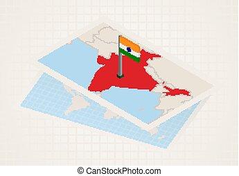 térkép, kiválasztott, india, india., isometric, lobogó