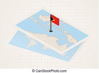 térkép, kiválasztott, isometric, lobogó, kelet, timor, timor...