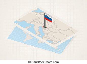 térkép, kiválasztott, isometric, lobogó, slovenia., slovenia