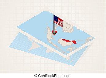 térkép, kiválasztott, isometric, malaysia lobogó, malaysia.