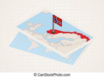térkép, kiválasztott, isometric, norway., lobogó, norvégia