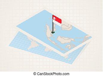 térkép, kiválasztott, isometric, singapore lobogó, singapore...
