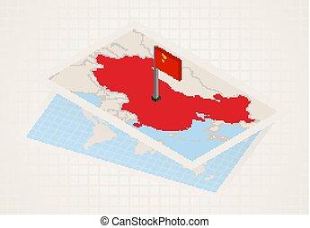 térkép, kiválasztott, kína, isometric, lobogó, china.