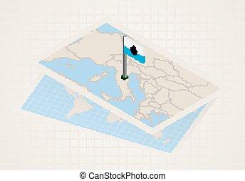 térkép, kiválasztott, marino., isometric, lobogó, marino, ...