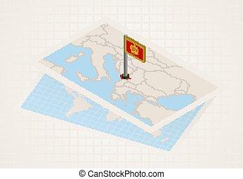 térkép, kiválasztott, montenegro, isometric, lobogó, ...