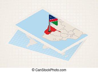 térkép, kiválasztott, namíbia, 3, namibia., lobogó