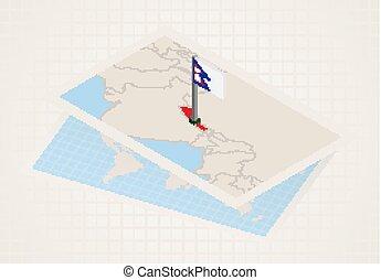 térkép, kiválasztott, nepál, isometric, lobogó, nepal.