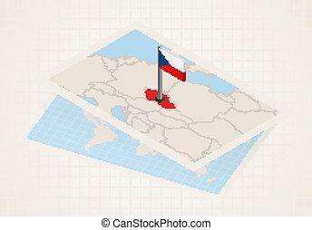 térkép, kiválasztott, republic., cseh, isometric, lobogó, ...