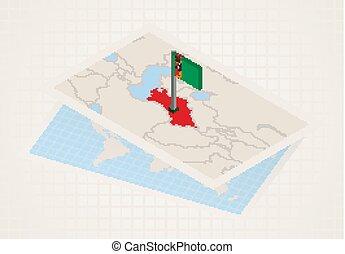 térkép, kiválasztott, turkmenistan., isometric, turkmenistan...