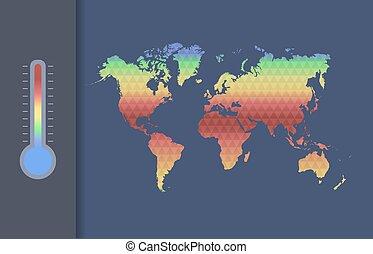térkép, klíma, concept., globális, vektor, world., melegítés