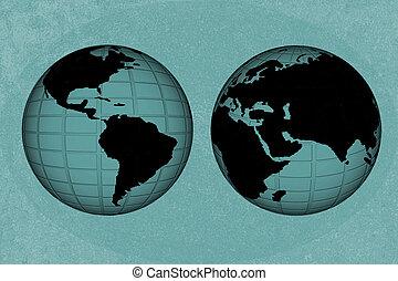 térkép, kreatív, világ