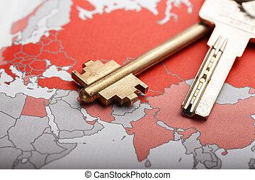 térkép, kulcs