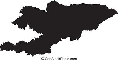 térkép, kyrgyzstan, vektor, ábra