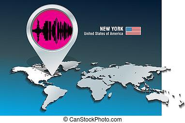 térkép, láthatár, york, gombostű, új