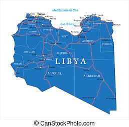 térkép, líbia