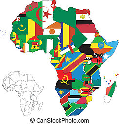 térkép, lobogó, afrika, szárazföld