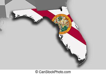 térkép, lobogó, florida