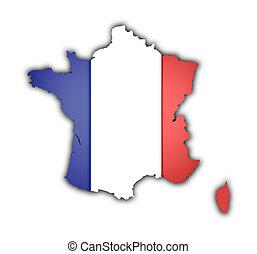 térkép, lobogó, franciaország