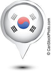 térkép, lobogó, korea, észak, elhelyezés