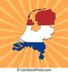 térkép, lobogó, németalföld, rövid napsütés